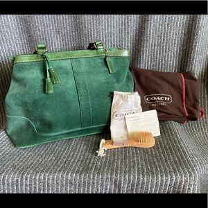 Coach Suede Green Handbag